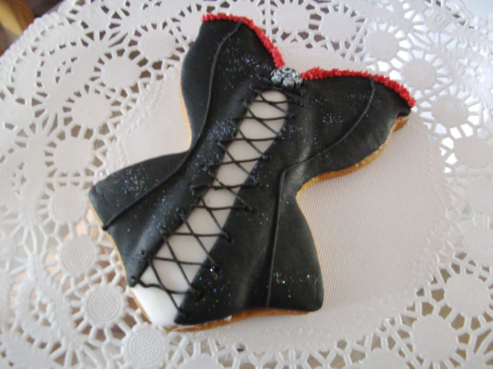 Black corset cabaret decorated cookie