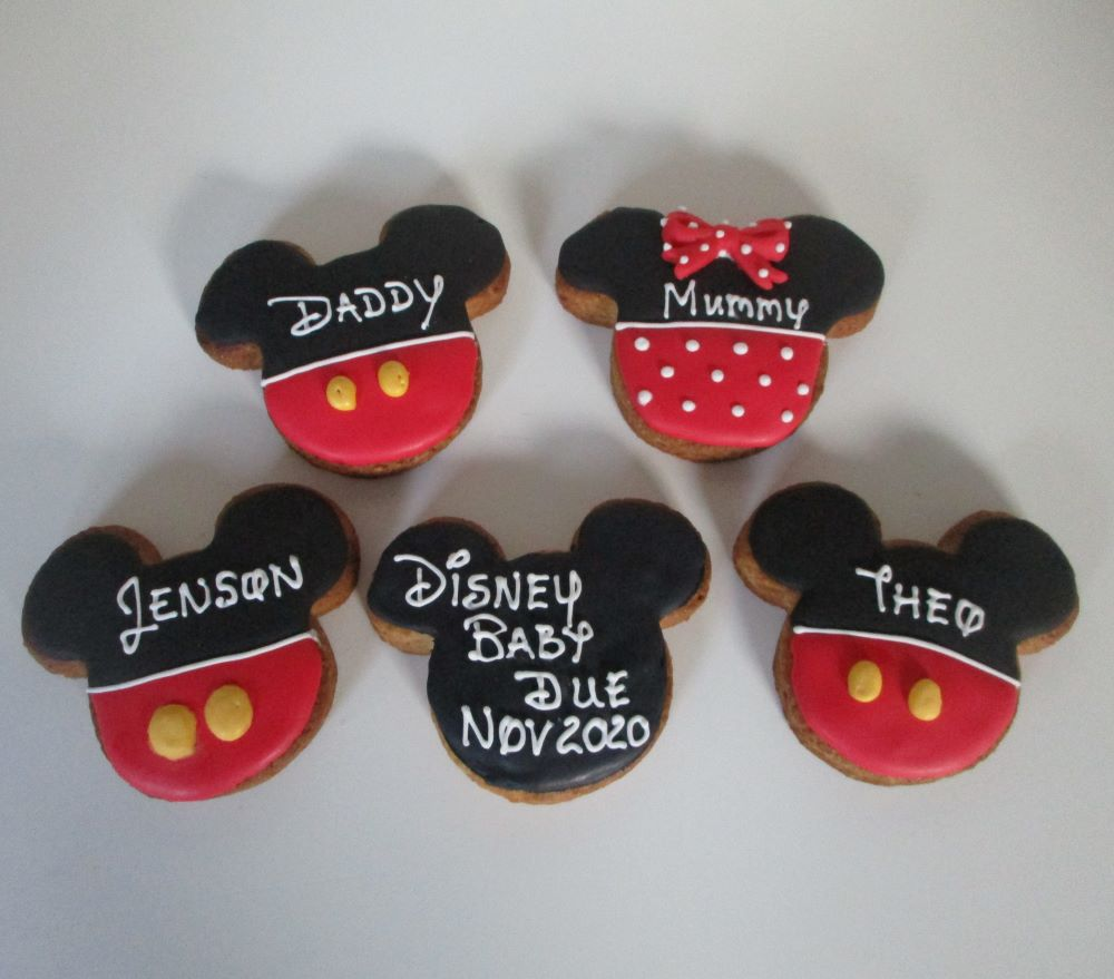 Disney mickey mouse baby announcement decorated cookies