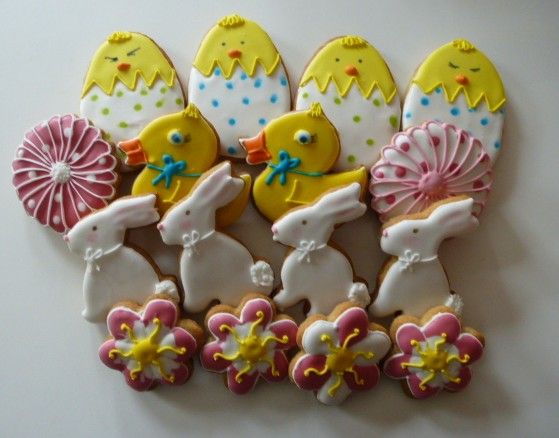 Easter rabbit egg, bunny chick decorated cookies