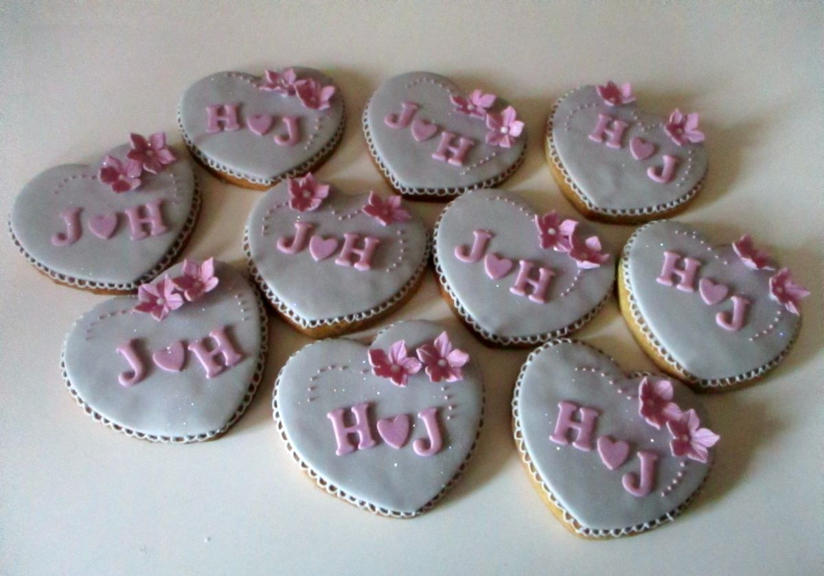Heart initial wedding love decorated cookies