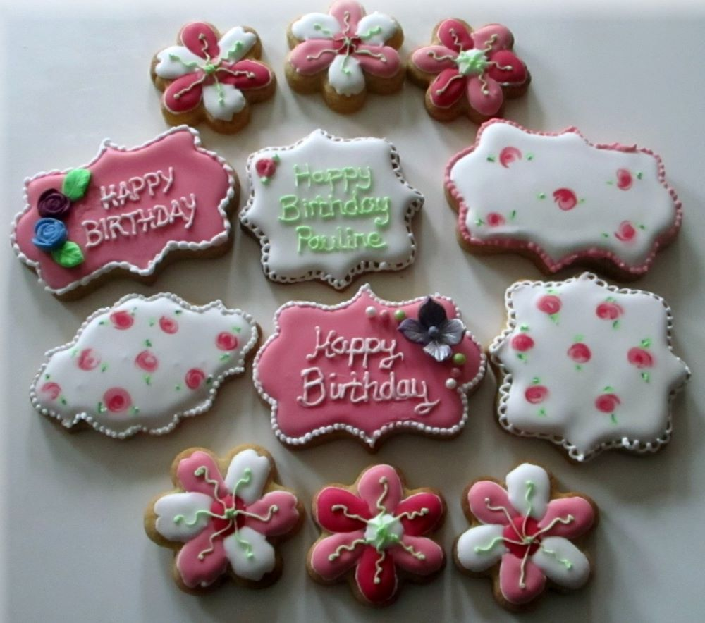 Pink flower birthday decorated cookies