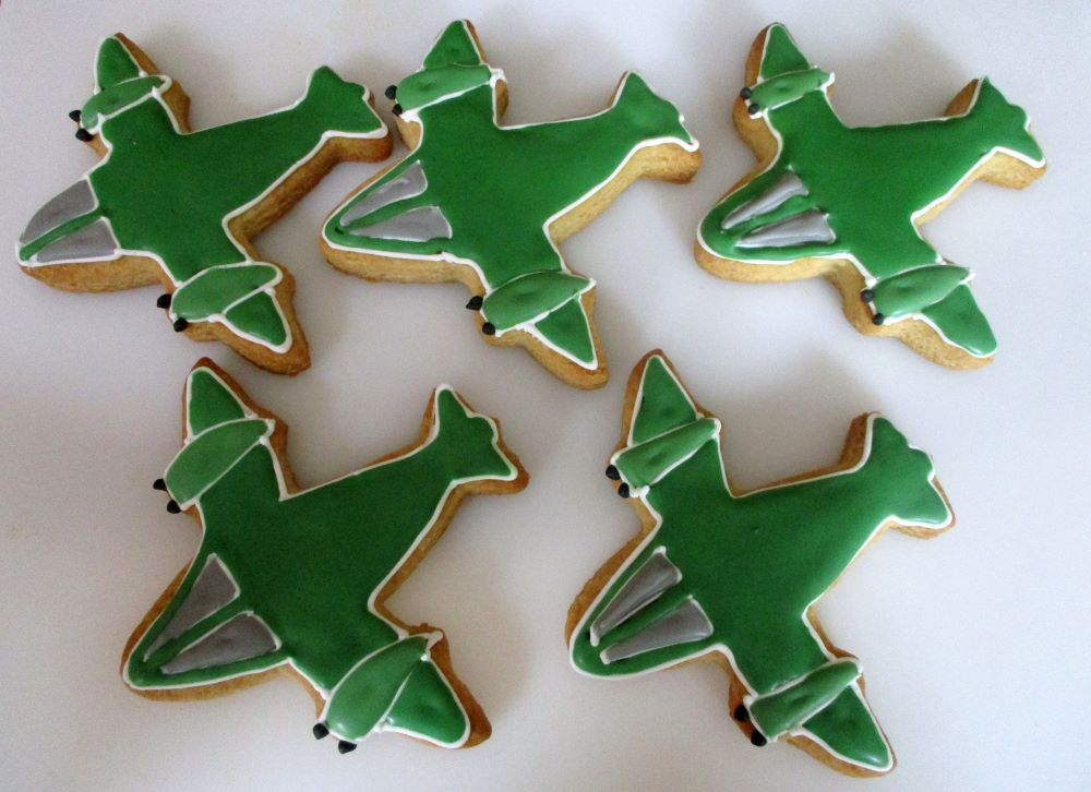 Plane decorated cookies